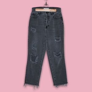 PACSUN Grey Distressed High-Rise Straight Jeans 27